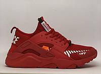 Кроссовки мужские в стиле Off White x Nike Air Huarache 841-8 красные