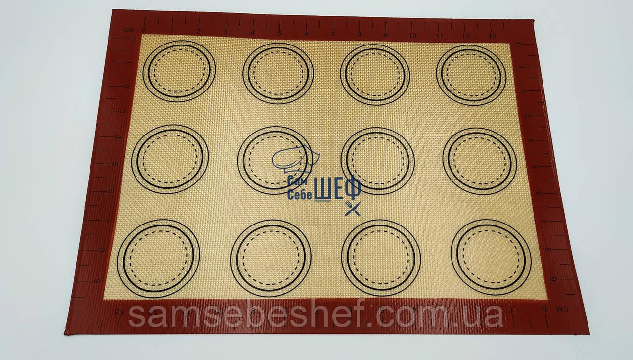 Профессиональный силиконовый коврик для выпечки армированный с разметкой 40*30 см