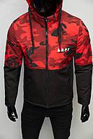 Куртка мужская демисезонная FR 8808-1 черная с красным камуфляж в стиле бренда 2xl размер