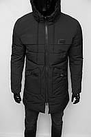 Куртка мужская удлиненная еврозима Chs Soft Shell 909 черная в стиле бренда