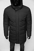 Куртка мужская удлиненная зимняя Chs Soft Shell 19016 черная в стиле бренда