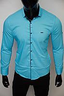 Рубашка мужская Paul Smith 16319 с регулировкой рукава бирюзовая
