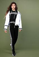 Короткая спортивная кофта с капюшоном тм Mone (черная) р-р 146