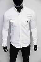 Рубашка мужская джинсовая Figo 17093 белая