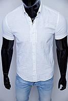 Рубашка мужская льняная Figo 7055 короткий рукав белая