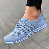 Мокасины женские на шнурках голубые светлые для бега летние весенние (Код: Л1674)