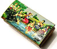 Шкатулка деревянная с сюжетной росписью 21 см. Авторская работа