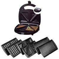 Электрическая бутербродница, сэндвичница + вафельница + гриль бытовая. 4 насадки + подарок!