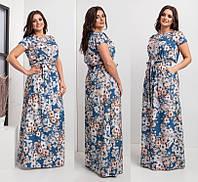 Женское летнее длинное платье, ткань софт, на талии резинка, р.44-46, 48-50, 52-54, 56-58, 62-64 синий, жіноче