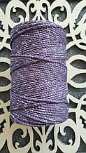 Шнур поліефірний без сердечника 3мм №20 Пастельно-фіолетовий+люрекс