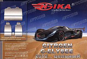 Авточехлы Citroen C-Elysee 2012- (з/сп. цельная) Nika