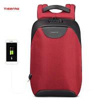 Рюкзак Tigernu для ноутбуков красный со встроенным кодовым замком и USB модель Т-В3611