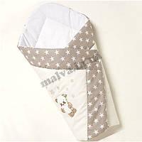 """Конверт-одеяло на выписку  """"Вышивка /Панда """"(бежевый), фото 1"""
