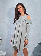 Женское платье асимметрия серый