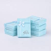 Подарочная Коробочка 7х5х2см, с бантиком, для Украшений с Кулоном, Голубой, (УТ000008081)