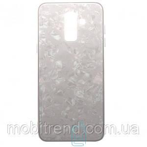 Чехол накладка Glass Case Мрамор Samsung J8 (2018) J810 Белый