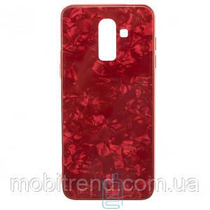 Чехол накладка Glass Case Мрамор Samsung J8 (2018) J810 Красный