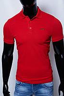 Футболка поло мужская батал Lct 2158 красная в стиле бренда