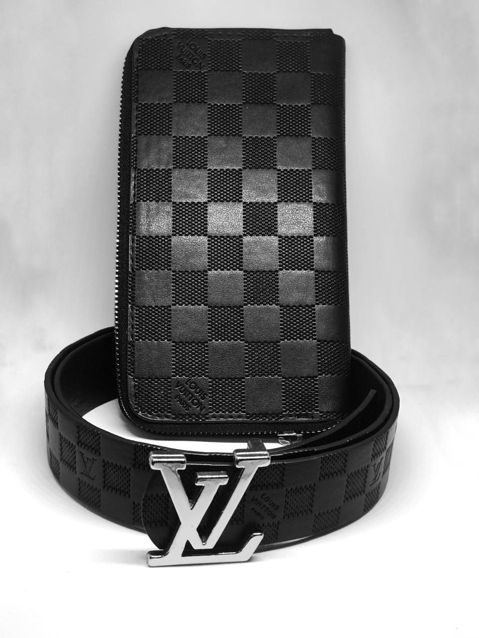 Ремень,  портмоне Подарочный набор Louis Vuitton CLEMENCE (реплика) black