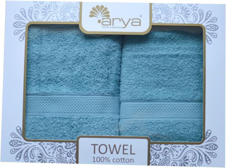 Набор полотенец для лица и тела Arya Miranda Soft 50*90 см + 70*140 см махровые банные в коробке аква
