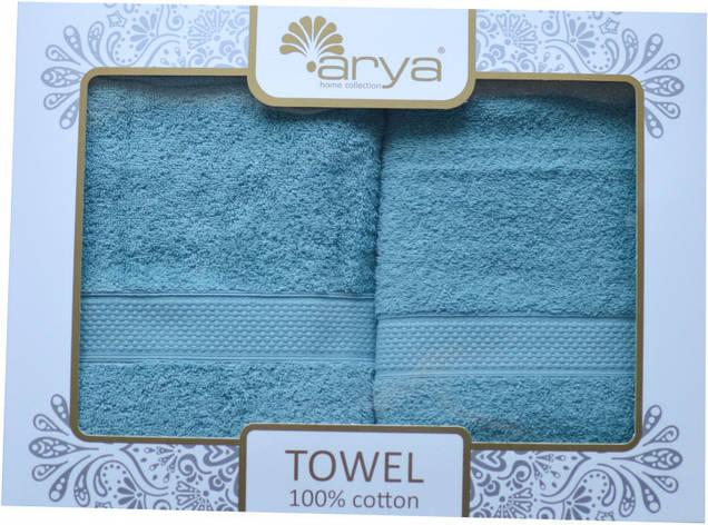 Набор полотенец для лица и тела Arya Miranda Soft 50*90 см + 70*140 см махровые банные в коробке аква, фото 2