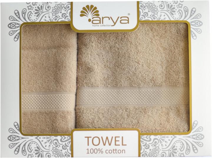 Набор полотенец для лица и тела Arya Miranda Soft 50*90 см + 70*140 см махровые банные в коробке бежевый