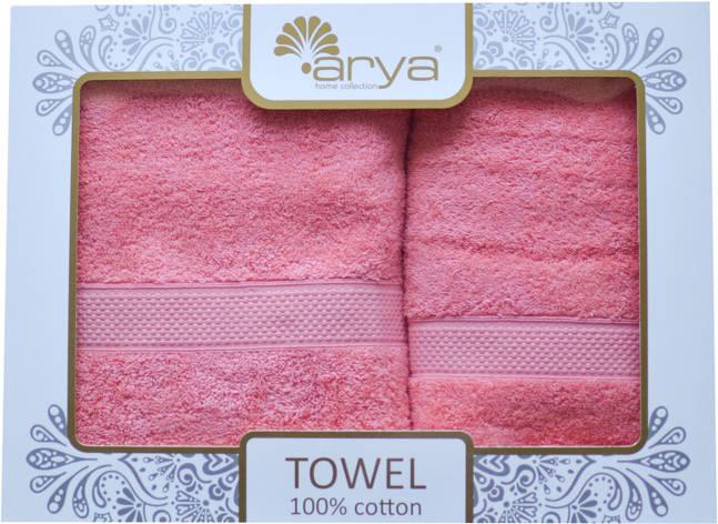 Набор полотенец для лица и тела Arya Miranda Soft 50*90 см + 70*140 см махровые банные в коробке коралл, фото 2