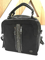 Рюкзак жіночий, черный, кожзам+замш иск. Арт.0080 Victoria Polo Туреччина (Сумка- рюкзак, черный, кожзам+замш иск.)