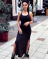 Платье женское, майка, летнее, длинное, в пол, облегающее, стильное, с декольте, модное, с разрезами