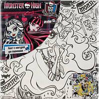 Раскраска картина на холсте с контуром монстер хай Monster High 20*20 MH14-216K