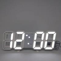 Электронные настольные LED часы с будильником и термометром LY 1089 белые (Белая подсветка)