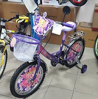 Двухколесный велосипед 18 дюймов  Mustang Princess фиолетовый с корзинкой ***