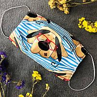 Багаторазова трислойна маска / Многоразовая защитная маска, маска питта Собака