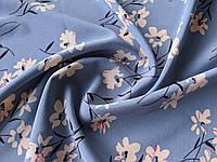 Французская вискоза софт весенние цветы, пыльный голубой