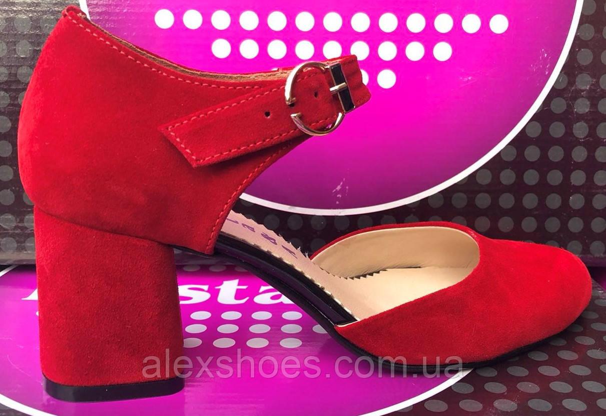 Туфли женские на устойчивом каблуке из натуральной замши от производителя модель ФС38Т