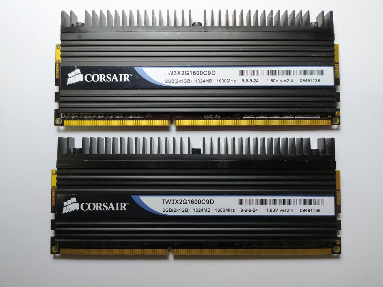 Комплект оперативной памяти Corsair Dominator DDR3 2Gb (2*1Gb) 1600MHz PC3-12800 (TW3X2G1600C9D) Б/У
