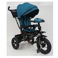Велосипед трехколесный с ручкой детский Turbo Trike М 5448HA-21T, надувные колеса, изумруд твид
