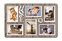 Фоторамка коллаж Декор Карпаты Home 51х33 см Дуб Бордо КОД: H6-032C