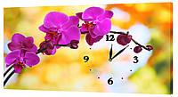 Настенные часы на ткане Декор Карпаты 24х44 Орхидеи  КОД: 24х44-c32