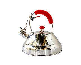 Чайник Giakoma со свистком 3 л Стальной с красным  КОД: 1502