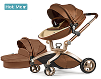 Оригинальная детская коляска Hot Mom 3в1 Dark Brown Тёмно-коричневый Прогулка, люлька и автокресло