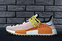 Кроссовки мужские в стиле Adidas x Pharrell Williams Human Race NMD код товара KD-11566. Пудровые с желтым