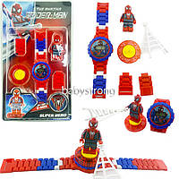 Детские наручные часы конструктор Человек Паук Спайдермен + фигурка лего любимого героя