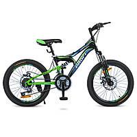 Детский велосипед колеса 20 дюймов PROFI G20DAMPER S20.1 Черный/Салатовый/Голубой