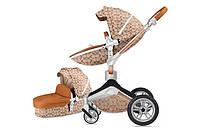 Оригинальная детская коляска Hot Mom 3в1 New 360 Light Brown Светло-коричневый Прогулка, люлька и автокресло, фото 1