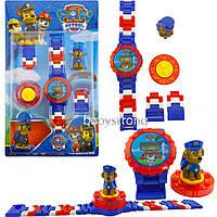 Детские наручные часы конструктор Щенячий Патруль Гонщик + фигурка лего любимого героя