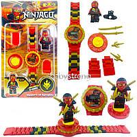 Детские наручные часы конструктор Ниндзяго Ninjago Кай + фигурка лего любимого героя