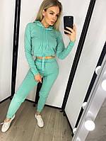 Костюм спортивный женский, укороченная кофта с капюшоном, модный, штаны с карманами, повседневный, прогулочный, фото 1