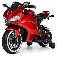 Детский мотоцикл Ducati с кожаным сиденьем M 4104ELS-3 красный автопокраска, фото 1