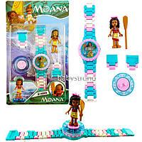 Детские наручные часы конструктор Моана ( Ваяна )  + фигурка лего любимого героя